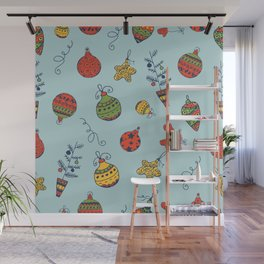 Christmas Toys Pattern Wall Mural