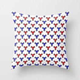 Finger Spinner Polka Dot Red and Blue Pattern Throw Pillow