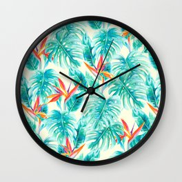 Tropical Paradise Pale Yellow Wall Clock