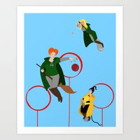 quidditch Art Prints featuring Quidditch Sisters  by Katá Mart