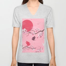 Cherry Blossoms and Origami Unisex V-Neck