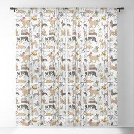 Christmas Dogs Sheer Curtain