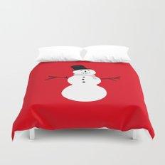 Christmas Snowman-Red Duvet Cover