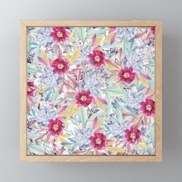 Modern Pink Mint Coral Blue Watercolor Flowers  Framed Mini Art Print