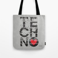 paramore Tote Bags featuring I love Techno by Sitchko Igor
