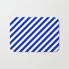Cobalt Blue and White Wide Candy Cane Stripe Bath Mat