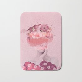 Woman in flowers Bath Mat