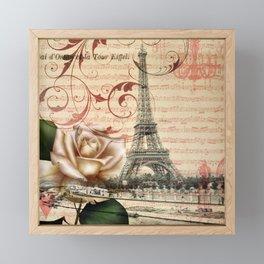 vintage chandelier white rose music notes Paris eiffel tower Framed Mini Art Print