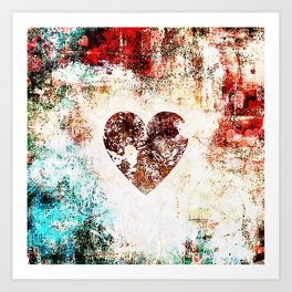 Vintage Heart Abstract Design Art Print