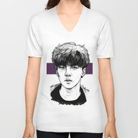 exo V-neck T-shirts featuring Sehun EXO Exodus by fabisart