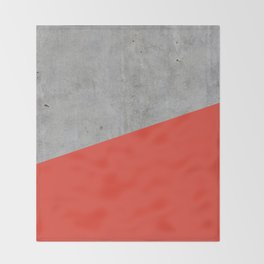 Concrete and Cherry Tomato Color Throw Blanket
