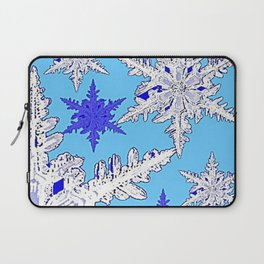 BEAUTIFUL BLUE & WHITE SNOW CRYSTALS  DESIGN Laptop Sleeve