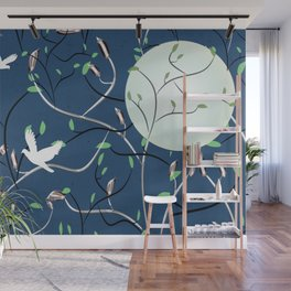 Art Nouveau Moon with Doves (Blue and Silver) Wall Mural