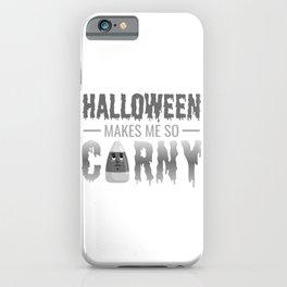 (tshirt) Halloween Makes Me So Corny (grayscale) iPhone Case