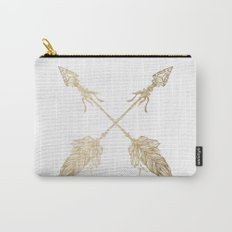 Tribal Arrows Gold on White Carry-All Pouch