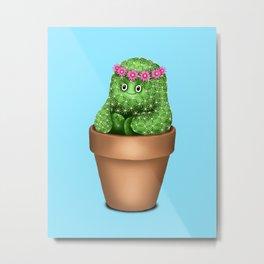 Cute Cactus (Blue Background) Metal Print