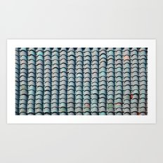 Rooftop Bleu Tiles Art Print