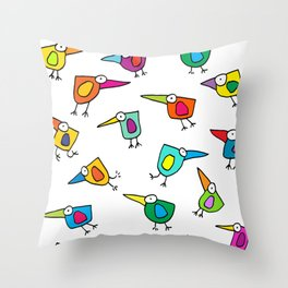 A Flock of Colourful Birds Throw Pillow
