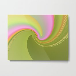 Pink and Green Curves Fractal Abstract Art Metal Print