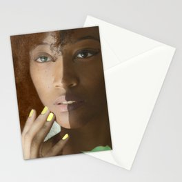 Colorism Split-Face Black Woman Stationery Cards