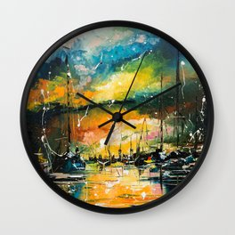 Harbor in sunset Wall Clock