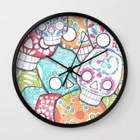 sugar skulls Wall Clocks featuring skulls sugar by wet yeti