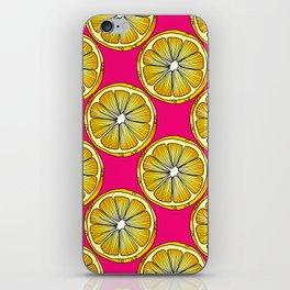Lemon Slices Repeating Pattern on Pink iPhone Skin
