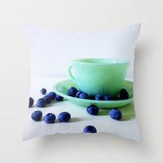 Retro Breakfast - Jadite and Blueberries Throw Pillow