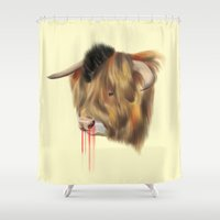 bull Shower Curtains featuring The Bull by Vasco Vicente