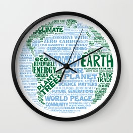 Protect Earth Word Bubble Wall Clock