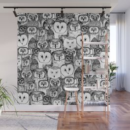 just owls black white Wall Mural