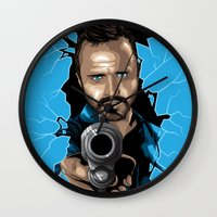 jesse pinkman Wall Clocks featuring Jesse Pinkman -Blue by Denis O'Sullivan