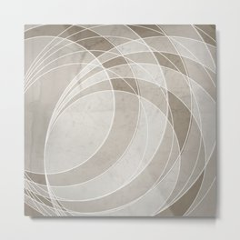 Orbiting Circle Design in Taupe Metal Print