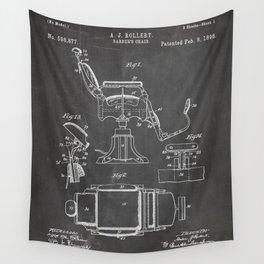 Barbers Chair Patent - Barber Art - Black Chalkboard Wall Tapestry