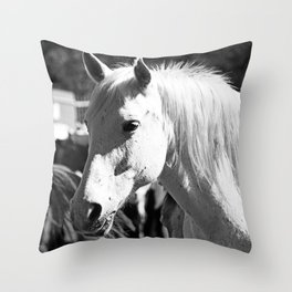 White Horse-B&W Throw Pillow