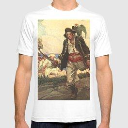 """Long John Silver"" Pirate Art by Louis Rhead T-shirt"
