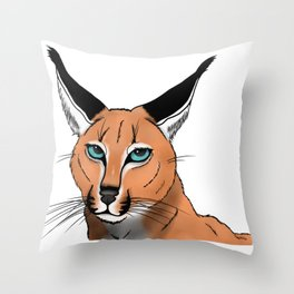 Blue-Eyed Caracal Throw Pillow