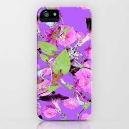 Lilac Purple Dark Morning Glory Vines art iPhone Case