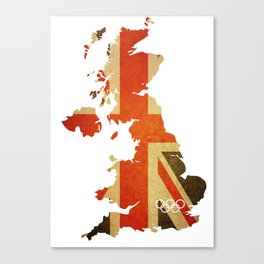 Union Jack Map - Olympics London 2012 Canvas Print