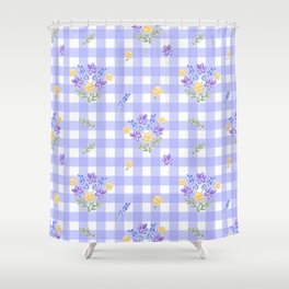 Spring picnic bouquets in Provence blue Shower Curtain