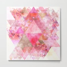 Triangles in pink - Watercolor Illustration pattern Metal Print