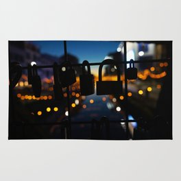 Bridge of locks in Milano by Night Photography Rug