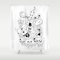 doodle Shower Curtains featuring Doodle by Malia León