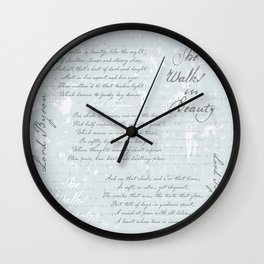 She Walks in Beauty - Lord Byron - poetry Wall Clock