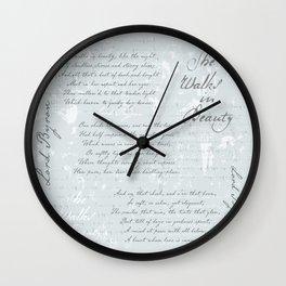 She Walks in Beauty - Lord Byron - poetry Wall Clock