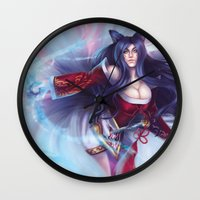 league of legends Wall Clocks featuring Ahri - League of Legends by Jessica Prando