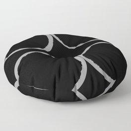 Grey Circles Circling A Midnight Circle Floor Pillow