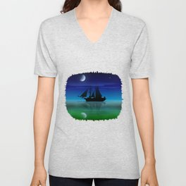 Sailing On A Sea of Green. Unisex V-Neck