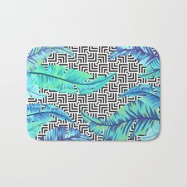 turquoise tropical leaves Bath Mat