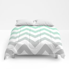 MINT GRAY CHEVRON FADE Comforters